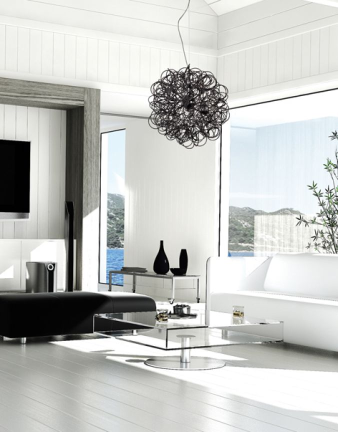 salon suspendu blanc luminaires multi luminaire. Black Bedroom Furniture Sets. Home Design Ideas